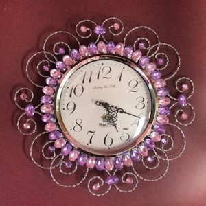 Wall clock with pink & purple gem stones